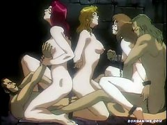 Tied Up Sex Slaves In Chains Forced Into A Big Sexy Orgy