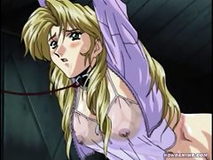 Cute Young Blonde Hentai Girl In A Leash Is Forced To Pee While Shes Watched