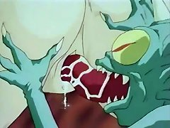 Dirty Anime With Ugly Alien Shoving Long Tongue In Pussy