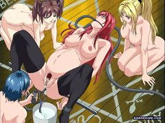 Redhead Anime Chick Gets Her Stomach And Ass Water Pumped