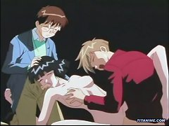 Big Boobed Hentai Woman Fucked By Two Young Boys