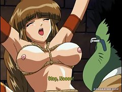 Innocent Anime Teen Tied Up With Ropes And Chains And Then Fucked By A Nasty Green Monster